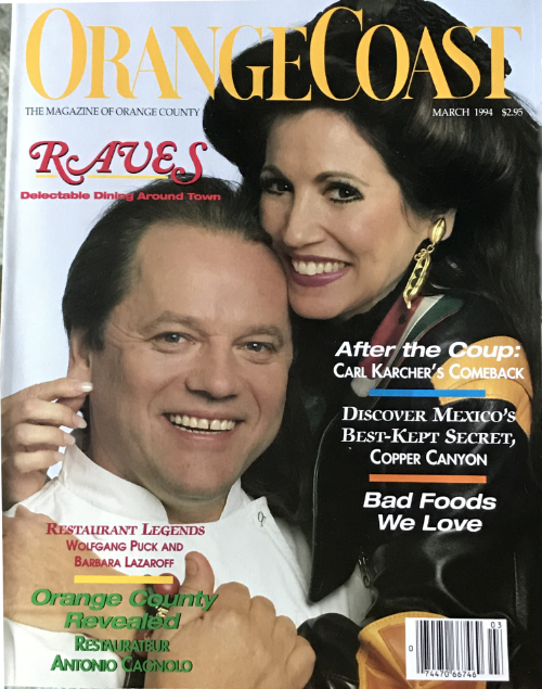 Barbara Lazaroff and Wolfgang Puck featured on the cover or Orange Coast magazine March 1994