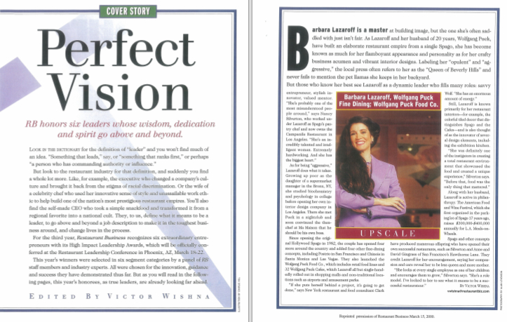 Restaurant Business magazine, Perfect Vision: Perfect Vision - RB honors six leaders whose wisdom, dedication and spirit go above and beyond