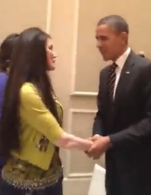 Barbara Lazaroff meeting President Obama 2012