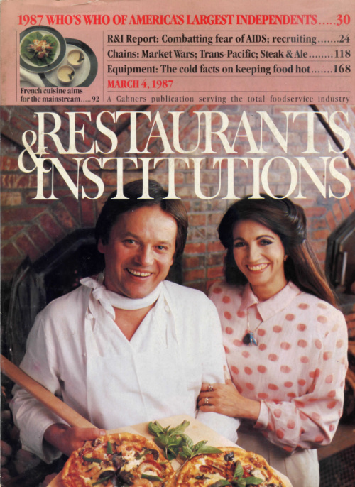 Wolfgang-Puck-Barbara-Lazaroff-on-cover-of-Restaurants-&-Institutions-Magazine-1987