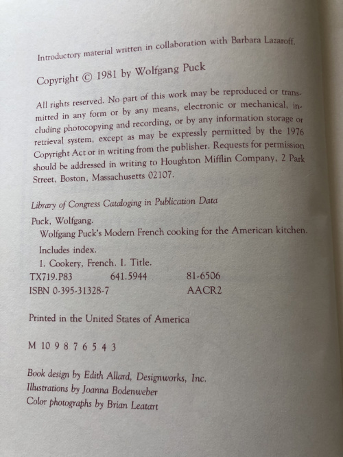 "Acknowledgement page of the book, ""Wolfgang Puck's Modern French Cooking for the American Kitchen,"" created in collaboration of Barbara Lazaroff and Wolfgang Puck"
