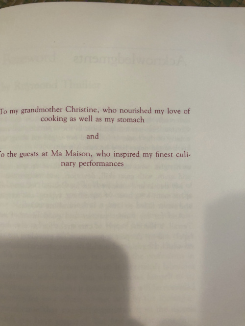 "Dedication page of the book, ""Wolfgang Puck's Modern French Cooking for the American Kitchen,"" created in collaboration of Barbara Lazaroff and Wolfgang Puck"