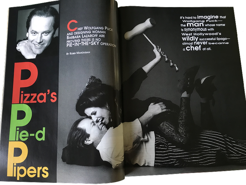 Barbara Lazaroff and Chef Wolfgang Puck article in Orange Coast magazine 1994