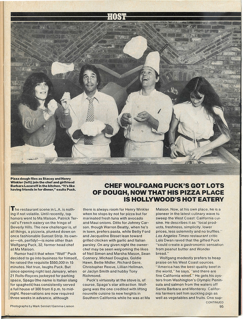 People Magazine 1982 Chef Wolfgang Puck's Got Lots of Dough, Now That His Pizza Place Is Hollywood's Hot Eatery - Henry Winkler's visit
