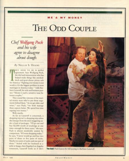 Smart Money Magazine, May 1995, Barbara Lazaroff and Wolfgang Puck are The Odd Couple