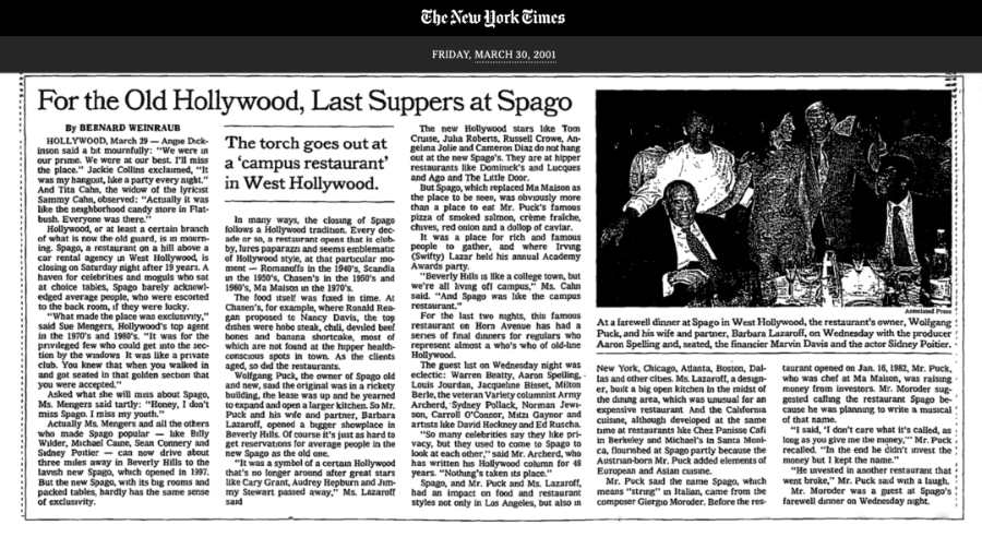 NY Times, For the Old Hollywood, Last Suppers at Spago (Hollywood)